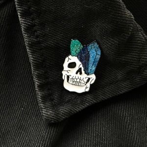 Accessories - 💀💙✨ Earthy Glitter Crystal Skull Pin